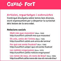 El contingut del web de Cavall Fort, un recurs per a les escoles